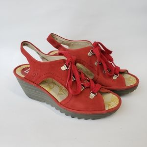 Fly London Ylfa Red Suede Lace Up Wedge Slingback